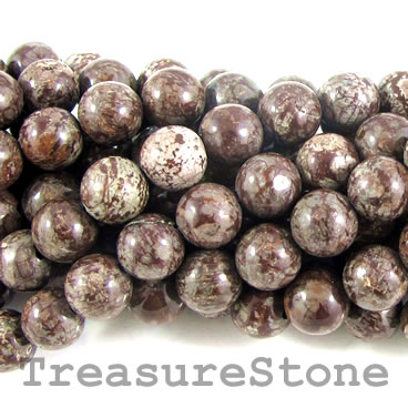 Bead, brown snowflake obsidian, 8mm round. 16-inch strand.