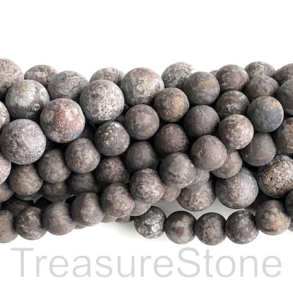 "Bead, brown snowflake obsidian, 10mm round, matte. 15"", 39pcs"