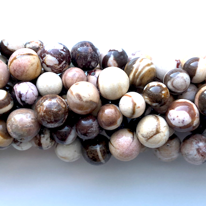 Bead, brown zebra jasper, 8mm round. 15-inch, 46pcs