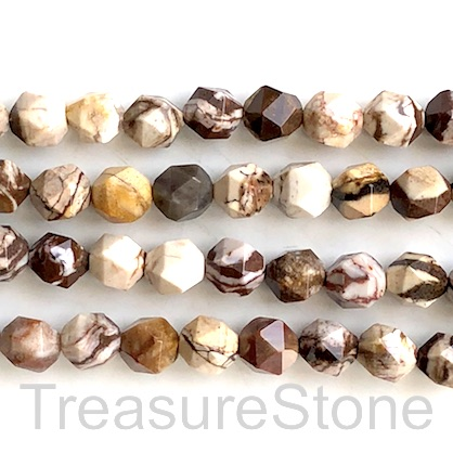 Bead, brown zebra jasper, 8mm faceted, star cut. 15.-inch, 46pcs