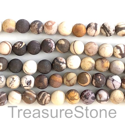 Bead, brown zebra jasper, 8mm round, matte. 15.5-inch, 46pcs