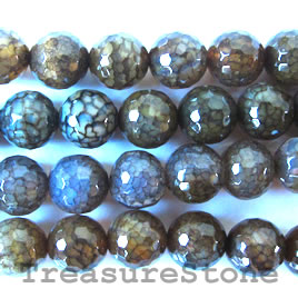 Bead, brown agate(dyed), faceted round, 14mm 16-inch strand