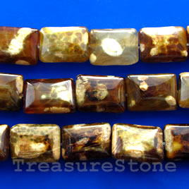 Bead, brown agate, 14x20mm puffed rectangle. 15-inch.