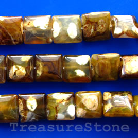 Bead, brown agate, 12mm puffed square. 15.5-inch.