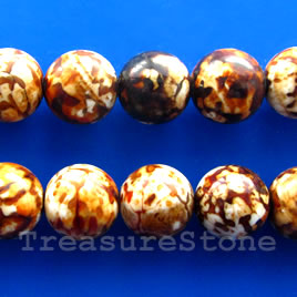 Bead, brown agate (dyed), 16mm mm round. 15.5-inch.