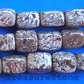 Bead, brown snowflake jasper, 10x13mm rectangle. 16-inch strand.