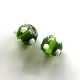 Bead, lampworked glass, green, 10x13mm bumpy rondelle. Pkg of 7