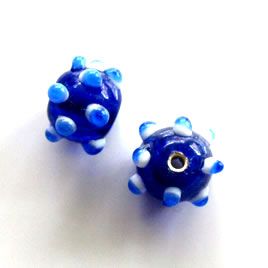 Bead, lampworked glass, blue, 10x13mm bumpy. Pkg of 7.