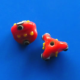 Bead, lampworked glass, red, 12x13mm bumpy. Pkg of 4.