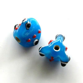Bead, lampworked glass, blue, 12x13mm bumpy. Pkg of 4.