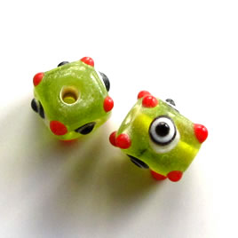 Bead, lampworked glass, green, evil eye, 8mm bumpy. Pkg of 8