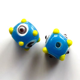 Bead, lampworked glass, blue with evil eye, 11mm bumpy. Pkg of 6