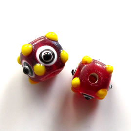 Bead, lampworked glass, red with evil eye, 11mm bumpy. Pkg of 6.