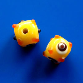 Bead, lampworked glass, yellow, evil eye, 10mm bumpy. Pkg of 6