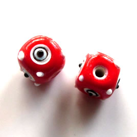 Bead, lampworked glass, red with evil eye, 10mm bumpy. Pkg of 6