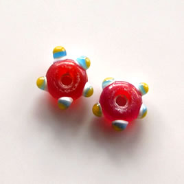 Bead, lampworked glass, red, 10x5mm bumpy. Pkg of 8.