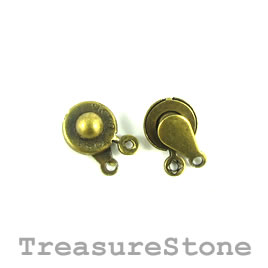 Clasp, button, brass-plated brass, 9mm round. Pkg of 5.