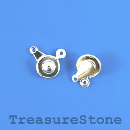 Clasp, button, silver-plated brass, 9mm round. Pkg of 5.
