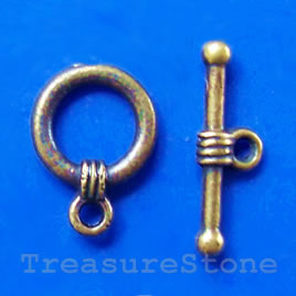 Clasp, toggle,antiqued brass-finished,11/18mm. Pkg of 14.