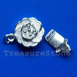 Clasp, tab, sterling silver, 10mm flower. Sold individually.