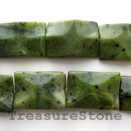 Bead, Nephrite Jade, 21x31mm wavy rectangle. 13pcs.