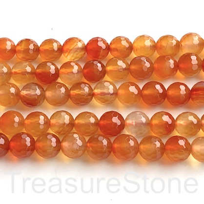 Bead, Carnelian 8mm faceted round. 15-inch, 48pcs