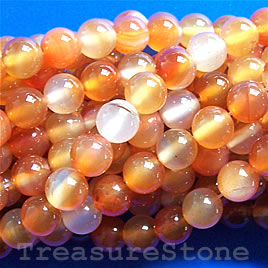 Bead, carnelian 6mm round, dyed. 16-inch strand.