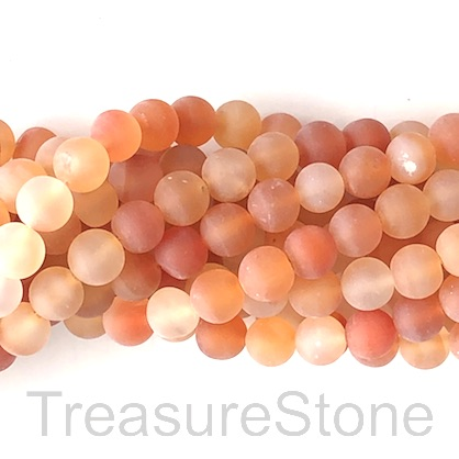 Bead, carnelian, matt, 8mm round, dyed. 14.5-inch, 46pcs