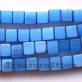 Bead, cat's eye glass, blue, 6mm cube. Sold per 16-inch strand.