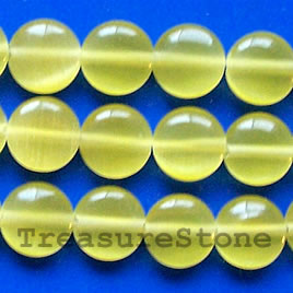 Bead, cat's eye glass, yellow, 8mm flat round. 15.5-inch strand.