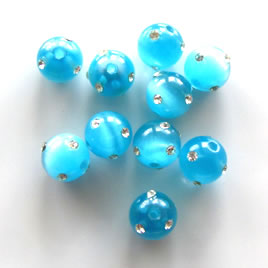 Bead, cat's eye glass with rhinestone, 8mm round, blue. Pkg of 5