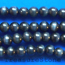 Bead, cat's eye glass, grey, 10mm round. Sold per 15-inch strand