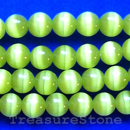 Bead, cat's eye glass, green, 6mm round. Sold per 16-inch strand