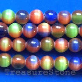 Bead, cat's eye glass, mixed, 6mm round. Sold per 16-inch strand