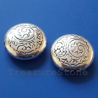 Bead, acrylic, silver-plated, 7x17mm. Pkg of 10.