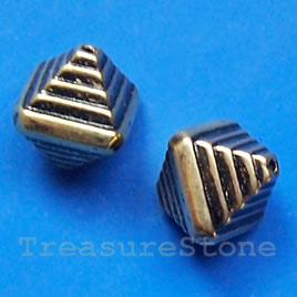 Bead, acrylic, gold-plated, 10x12mm. Pkg of 15.