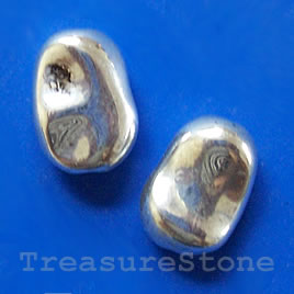 Bead, acrylic, silver-plated, 6x11x15mm. Pkg of 8.