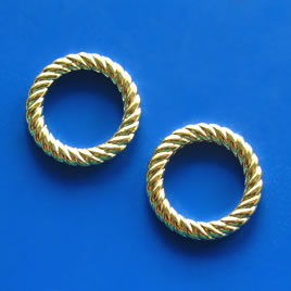 Bead, acrylic, gold-plated, 22mm ring. Pkg of 12.