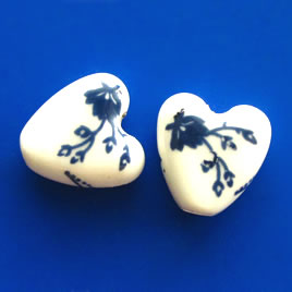 Bead, porcelain, 15x7mm heart. Pkg of 5.