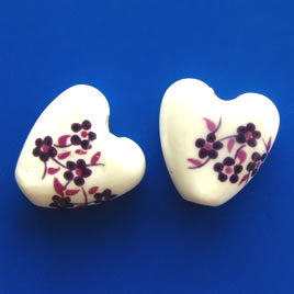 Bead, porcelain, 15mm heart. Pkg of 5.