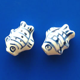 Bead, porcelain, 12x15x8mm fish. Pkg of 5.