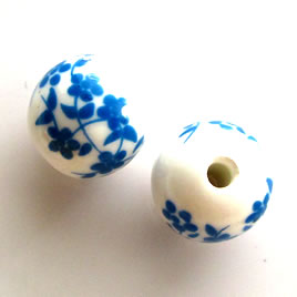 Bead, porcelain, 14mm. Pkg of 5.