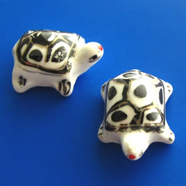 Bead, porcelain, 17x24x12mm turtle. Pkg of 3.