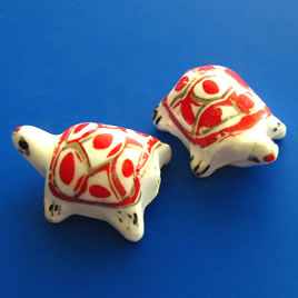 Bead, porcelain, 17x24x13mm turtle. Pkg of 3.