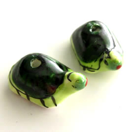 Bead, porcelain, 12x22x12mm turtle. Pkg of 3.