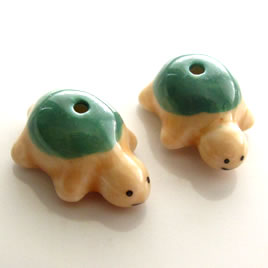 Bead, porcelain, 14x20x10mm turtle. Pkg of 3.