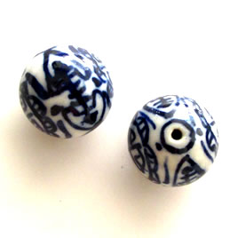 Bead, porcelain, hand-painted, 16mm round. Pkg of 5.