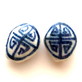 Bead, porcelain, hand-painted, 14x18x8mm. Pkg of 5.