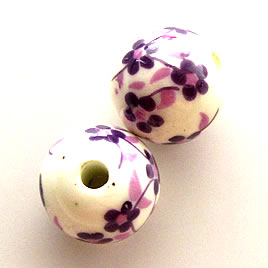 Bead, porcelain, 9mm, hole:2.5mm. Pkg of 8.