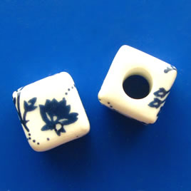 Bead, porcelain, 9mm cube, large hole:4mm. Pkg of 6.